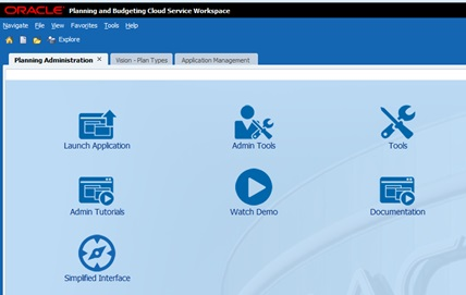 Oracle PBCS Planning Administration Page
