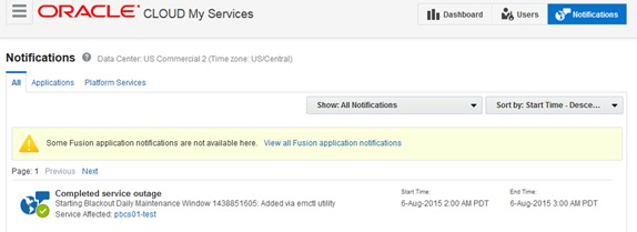 Oracle Cloud My Services Notifications
