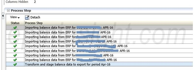FDMEE Process Details showing Accounting Entities